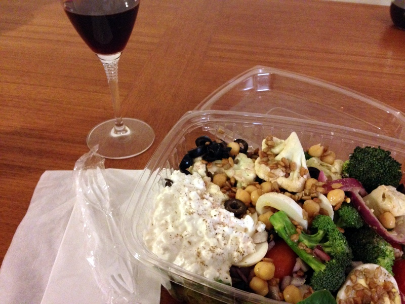 salad bar dinner and wine