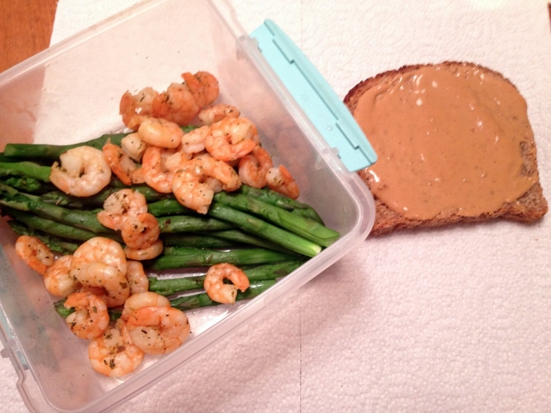 shrimp asparagus and ezekial bread