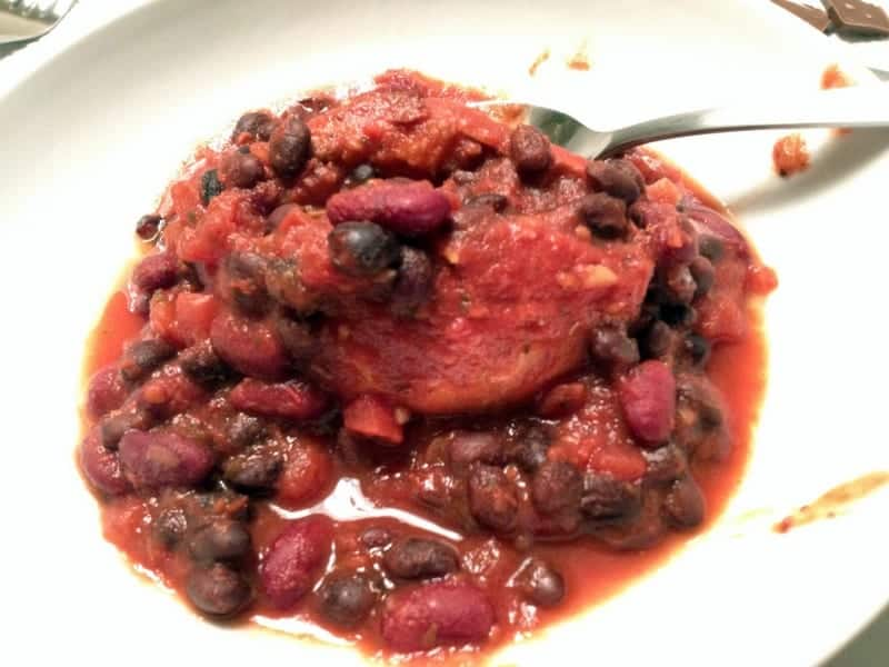 chili over sweet potato
