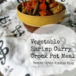 Vegetable Shrimp Curry Crock Pot Meal via Treble in the Kitchen Blog