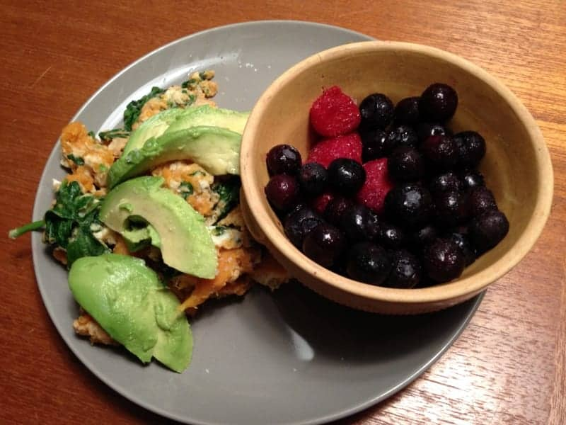 whole 30 scramble with avo and berries