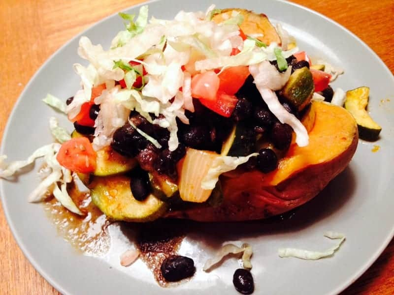 stuffed baked sweet potato dinner