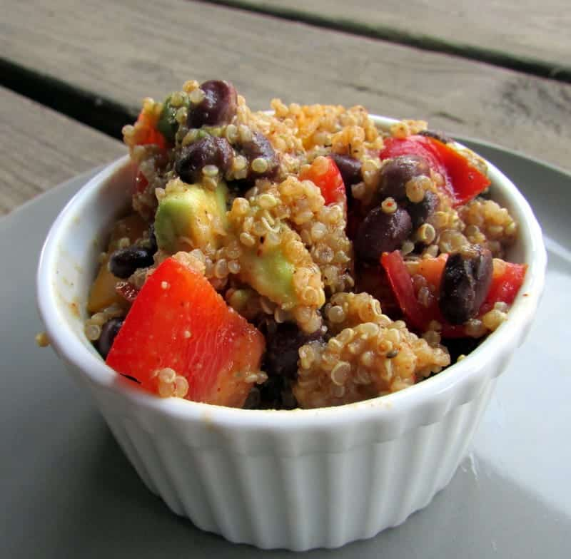 fiesta quinoa salad via treble in the kitchen