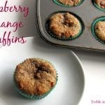 Raspberry Orange High Fiber Muffins via Treble in the Kitchen