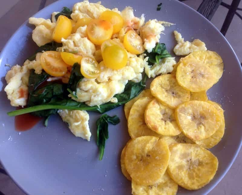 Scrambled Eggs with Spinach, Cherry Tomatoes and Plantains  | Treble in the Kitchen